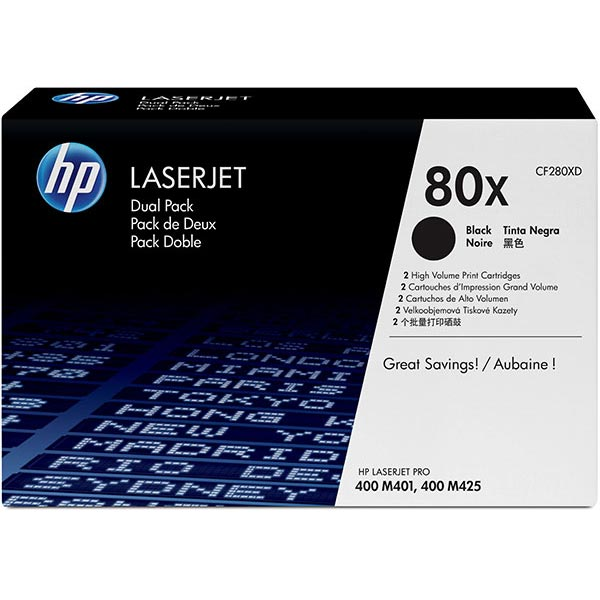 HP LJ Pro 400 M401/400 MFP M425dn (80X)Dual Pack Toner Cartridge