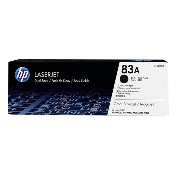 HP LJ Pro MFP M125/M127fn_fw/M201/M225 (83A-2 pk) series MFP Black Cartridge