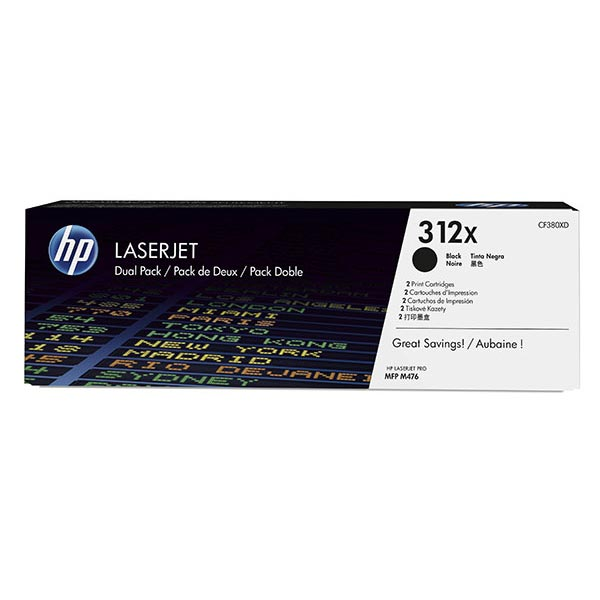 HP CLJ Pro MFP M476 2-pack 312X High Yield Black Original LaserJet Toner Cartridges