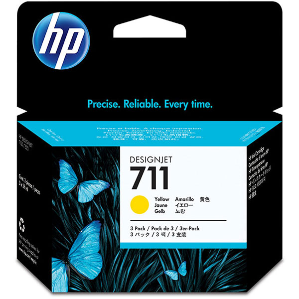 HP 711 3-pack 29-ml Yellow Designjet Ink Cartridge