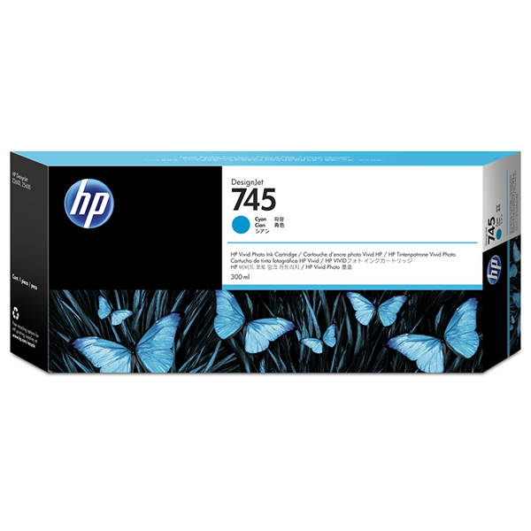 HP 745 300-ml Cyan DesignJet Ink Cartridge