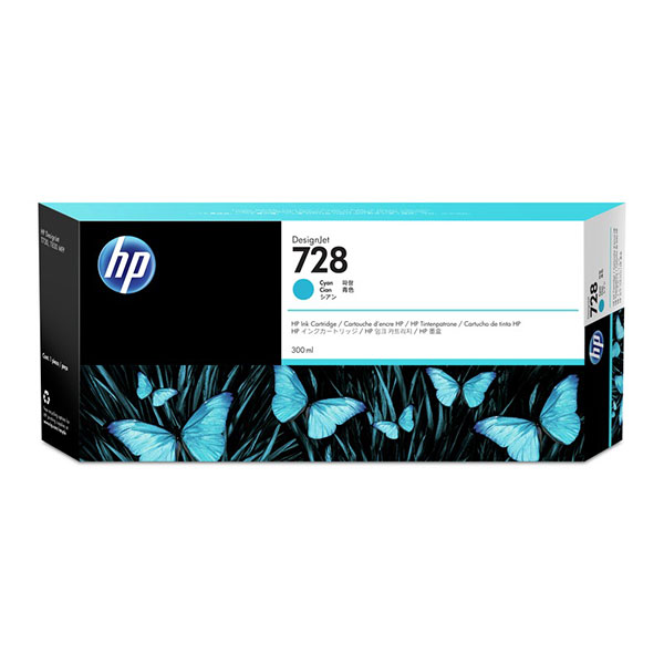 HP728 300-ml Cyan DesignJet Ink Cartridge